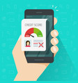 bad credit score online on smartphone vector image vector image