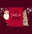 banner with santa claus tree on card invitation vector image vector image