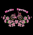 bike and cherry blossom embroidery pattern vector image vector image