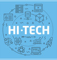 blue line flat circle hitech vector image vector image