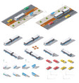 bus stop and road architecture isometric icon set vector image