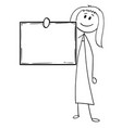 cartoon of businesswoman or woman holding empty vector image