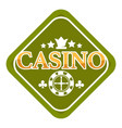 casino club isolated icon crown and roulette wheel vector image vector image