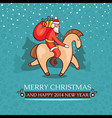 Christmas cute baby card with santa claus vector image