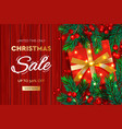 christmas sale banner realistic fir-tree branches vector image vector image