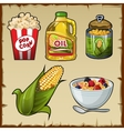 Corn and corn products five varieties of food vector image vector image