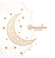 creative ramadan kareem moon and stars background vector image