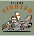 cute bear pilot on jet fighter cartoon