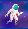 cute cosmonaut cartoon character on deep space vector image