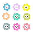 cute flowers with smiley face on white background vector image