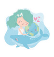 cute girl hugging world whale love hearts vector image