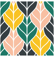 cute seamless pattern with colorful outline leaves vector image