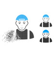 decomposed dotted halftone worker icon with face vector image vector image