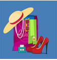 flat shopping for accessories and cosmetics vector image