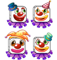 Four square faces of a clown vector image vector image