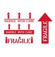 fragile this way up handle with care box sign vector image vector image