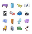 furniture icons set cartoon vector image vector image