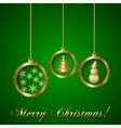 Gold Decorative Christmas Greeting Card vector image