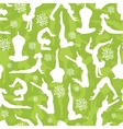 Green yoga poses seamless pattern background vector image vector image