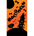 Halloween poster with mystery house bats and moon vector image vector image