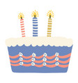 hand drawn blue birthday cake with lit vector image