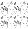 hands showing five fingers rock and roll pattern vector image