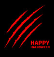 happy halloween pumpkin text red bloody claws vector image