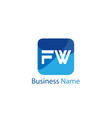 initial letter fw logo template design vector image