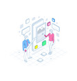 isometric freelancing creative blogging vector image