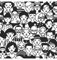 monochrome seamless pattern with faces or heads of vector image