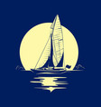 ocean yacht with full moon vector image vector image