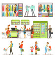 people buying grocery products and clothes in the vector image vector image