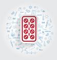 pills strip icon on handdrawn healthcare vector image vector image