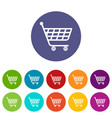 product trolley icons set color vector image