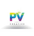 pv p v colorful letter origami triangles design vector image vector image