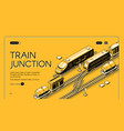 railway junction isometric website template vector image vector image
