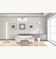realistic living room interior light tones vector image vector image