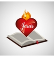 sacred heart jesus on bible design vector image vector image