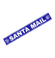 santa mail scratched rectangle stamp seal with vector image vector image