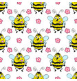 seamless pattern bee vector image vector image