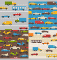 set seamless patterns with colorful cars vector image vector image