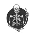 skeleton barber engraving vector image