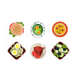 tasty healthy dishes set dinner table top view vector image vector image