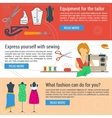 Three banners sewing and tailoring vector image vector image