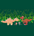 two dinosaurs met in a wild prehistoric forest vector image vector image
