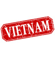 Vietnam red square grunge retro style sign