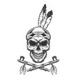 vintage indian warrior skull with feathers vector image vector image