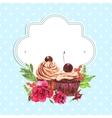 vintage invitation card watercolor cupcakes vector image vector image
