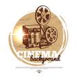 Vintage movie cinema banner with hand drawn sketch vector image