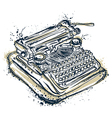 vintage typewriter with ink splashes vector image
